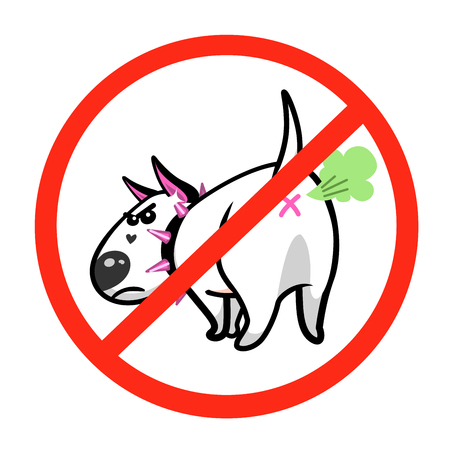 Cute vector cartoon dog. Angry white Bull Terrier. Prohibition sign