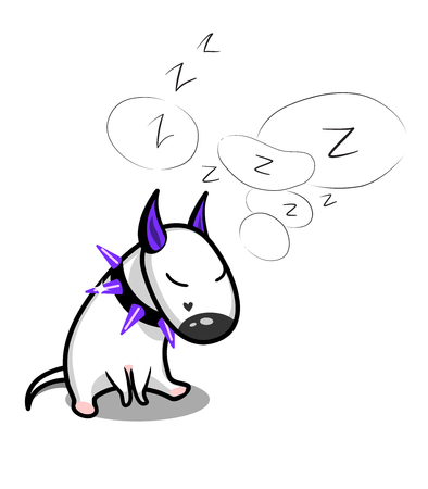 Cute vector cartoon dog. Sleeping white Bull Terrier