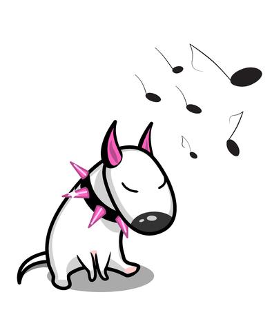 Cute vector cartoon dog. White Bull Terrier listening to music Illustration