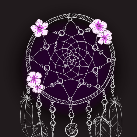 Hand drawn ornate Dream catcher with tender pink flowers on a black background. Vector illustration Illustration