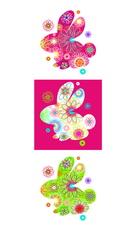Set of rabbit silhouette with a bright abstract pattern. Vector illustration isolated on white background. Unusual bunny for the Easter design and cards