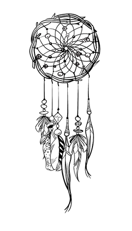 Hand drawn dream catcher illustration.