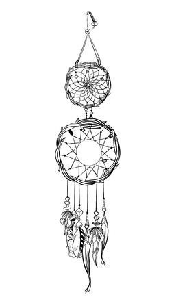 Hand drawn dream catcher with pink accents. Feathers and beads vector illustration. 일러스트