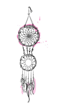 Hand drawn dream catcher with pink accents. Feathers and beads vector illustration. Ilustração