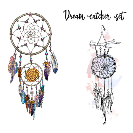 Set of hand drawn dream catchers. Feathers, beads and flowers vector illustration.