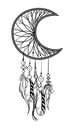 Vector illustration with hand drawn dream catcher. Vectores