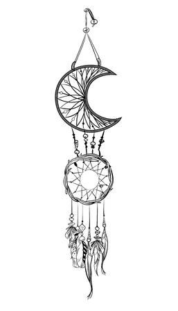 Vector illustration with hand drawn dream catcher. Illustration