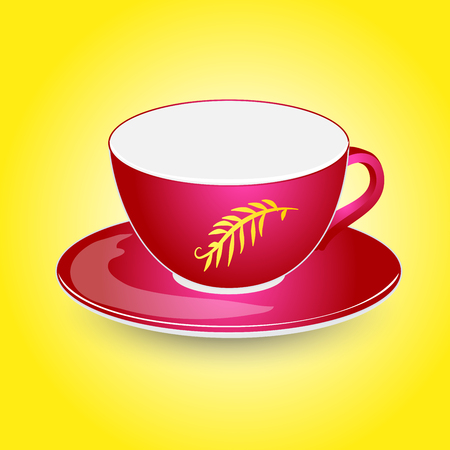 Red empty cup mock-up on plate vector design. Isolated on yellow background