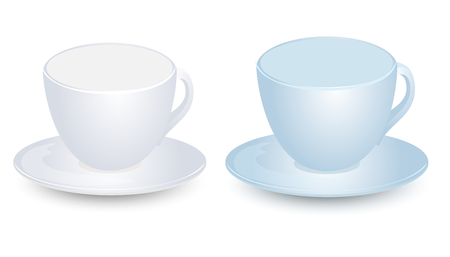 Blue and white cup mock-ups on plate vector design. Isolated on white background.