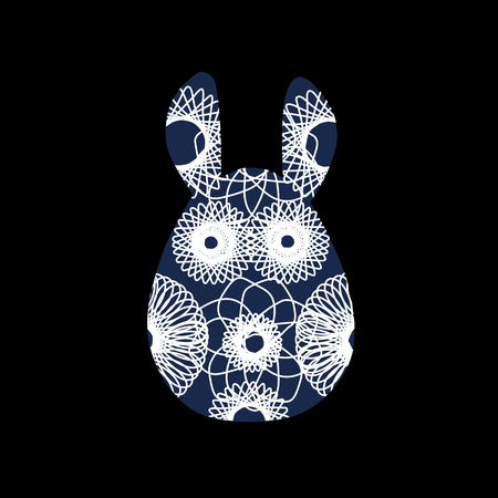 Unusual bunny for the Easter design and cards. Rabbit silhouettes with a bright abstract pattern. Vector illustration isolated on black background.