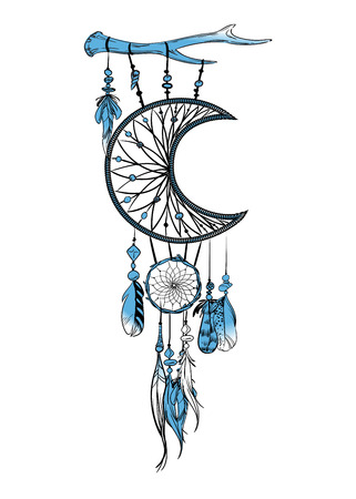 Vector illustration with hand drawn dream catcher. Feathers and beads Vectores