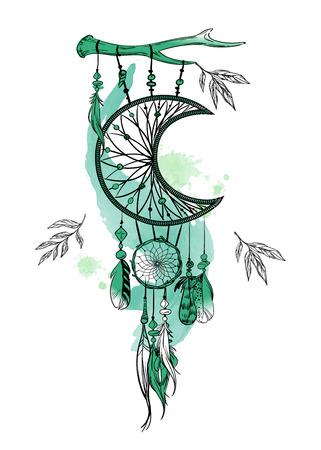 Ilustracja wektorowa z ręcznie rysowane łapacz snów i plamy akwarela. Pióra i koraliki
