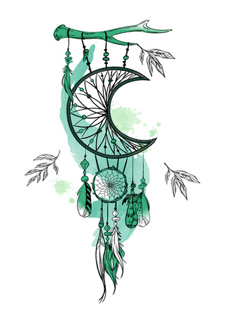 Vector illustration with hand drawn dream catcher and watercolor stains. Feathers and beads