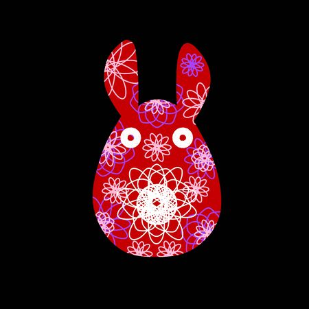 Unusual bunny for the Easter design and cards. Rabbit silhouettes with a bright abstract pattern. Vector illustration isolated on black background