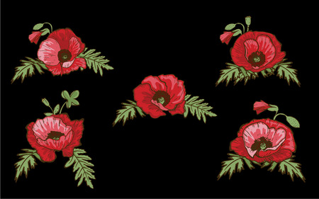 Set of hand drawn red poppies isolated on black background. Buds and flowers. Botanical vector. Floral elements for your design. Stock fotó - 100910906