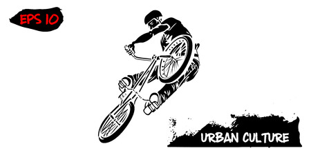 Illustration with representative of Urban Culture. BMX rider in a jump isolated on white background. Extreme theme modern print.