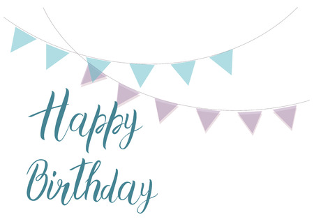 Happy Birthday text with purple and blue checkboxes. Bright postcard. Festive typography vector design for greeting cards.