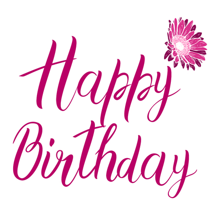 Happy Birthday pink text isolated on white background. Festive typography vector designs for greeting cards. Ready template