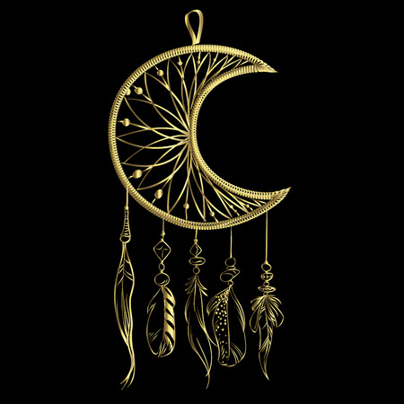 Vector illustration with hand drawn dream catcher isolated on a black background. Luxury golden feathers and beads Illustration