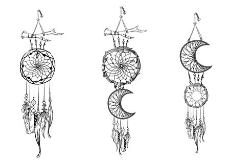 Set of hand drawn dream catchers. Ornate ethnic items, feathers and beads. Monochrome vector illustration Иллюстрация