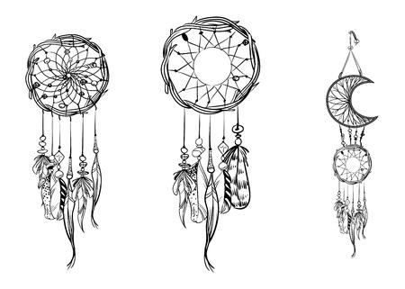 Set Of Hand Drawn Dream Catchers Ornate Ethnic Items Feathers Adorable Drawn Dream Catchers