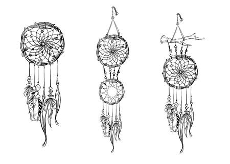 Set Of Hand Drawn Dream Catchers Ornate Ethnic Items Feathers Mesmerizing Drawn Dream Catchers