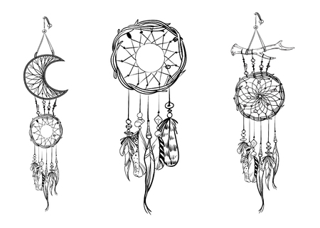 Set of hand drawn dream catchers. Ornate ethnic items, feathers and beads. Monochrome vector illustration  イラスト・ベクター素材