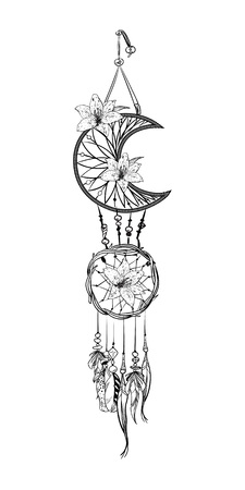 Monochrome vector illustration with hand drawn dream catcher. Ornate ethnic items, feathers, beads and flowers