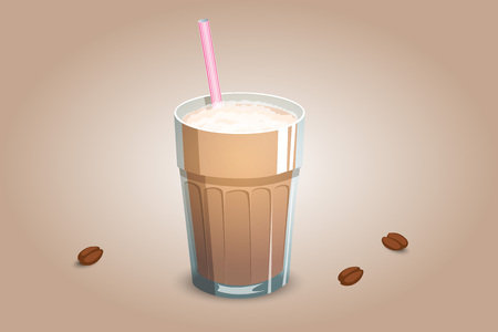 Delicious coffee drink in a transparent cup with milk foam and a straw. An invigorating beverage made of milk and coffee. Vector illustration
