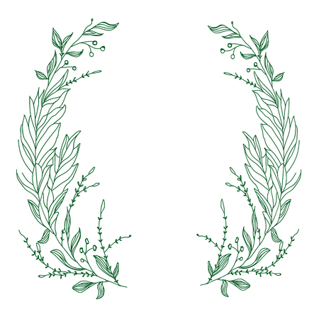 Vector template for greeting card. Composition with broad green branches on a white background. Good for postcards, the web and other any design 일러스트