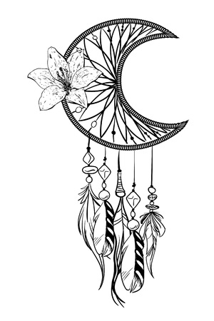 Ilustración de vector monocromo con atrapasueños dibujado a mano. Artículos étnicos ornamentados, plumas, abalorios y flores. Ilustración de vector