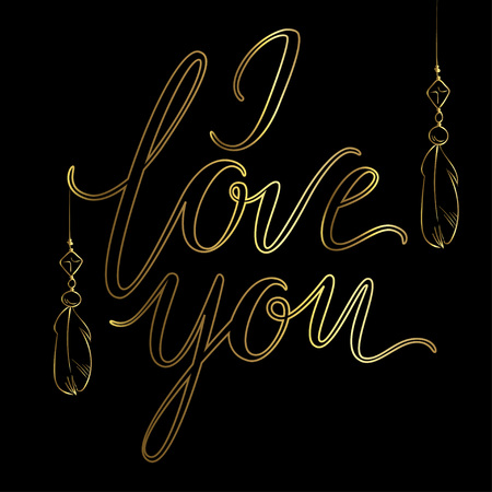 Vector greeting card. Golden I LOVE YOU inscription on a black background. Universal love postal Illustration
