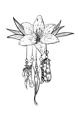 Monochrome vector illustration with hand drawn flower and bird feathers. Ornate ethnic items, feathers, beads and flower