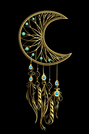 Vector illustration with golden luxury dream catcher with feathers and jewels on a black background. Ornate ethnic items, feathers, beads