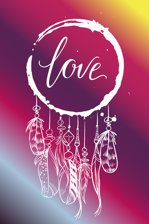 Vector greeting card. Dream catcher with feathers and inscription LOVE on a pink gradient background. Universal love postal Vectores