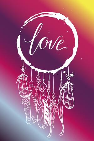 Carte de voeux de vecteur. Capteur de rêves avec plumes et inscription LOVE sur fond dégradé rose. Amour universel postal Vecteurs