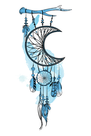 Vector illustration with hand drawn dream catcher. Watercolor brush strokes and stains. Ornate ethnic items, feathers, beads