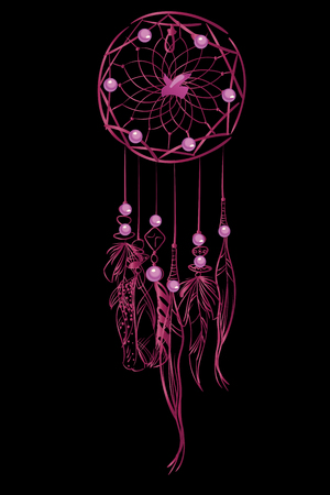 Vector illustration with pink luxury dream catcher with feathers and jewels on a black background. Ornate ethnic items, feathers, beads