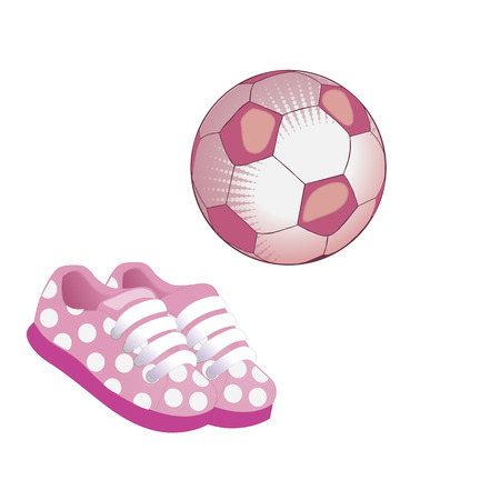 Soccer ball and pink sneakers icon. Flat vector illustration on white background. Equipment for sport, healthy lifestyle and physical activity