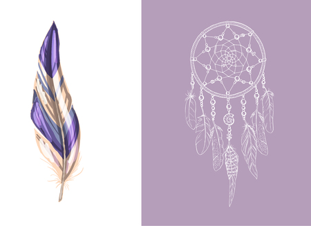 Set of design and decor elements. Detailed colored feather close up isolated on white background. Hand drawn ornate ethnic dream catcher on a pink background. Vector illustration