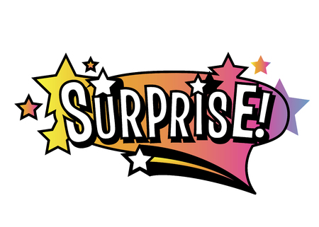 Bright vector Surprise speech bubble. Colorful emotional icon isolated on white background. Comic and cartoon style Illustration