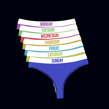 Days of the week woman panties set. Different colors cute thongs isolated on black background