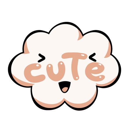Vector Cute speech bubble. Colorful emotional icon isolated on white background. Comic and cartoon style