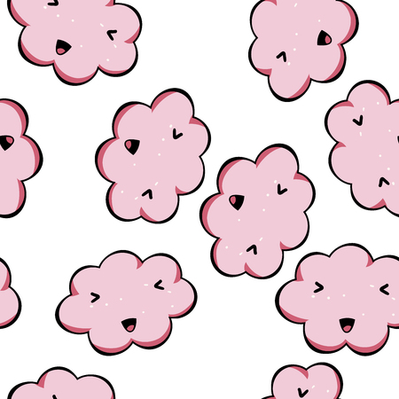 Vector seamless pattern kawai pink clouds isolated on white background. Cute backdrop for your design