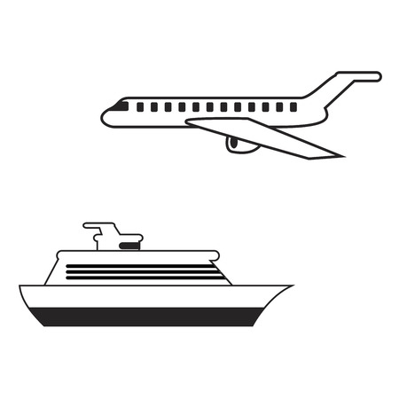 Travel icons. Mobile app, printing, web site icon. Simple elements. Monochrome airplane and ship vector illustration