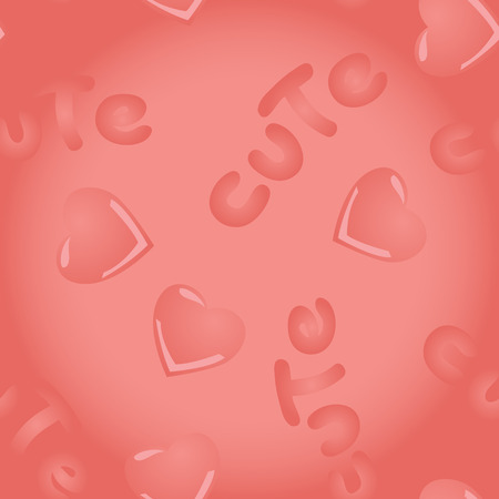 Vector pink seamless pattern with kawai hearts and inscription Cute on a white background