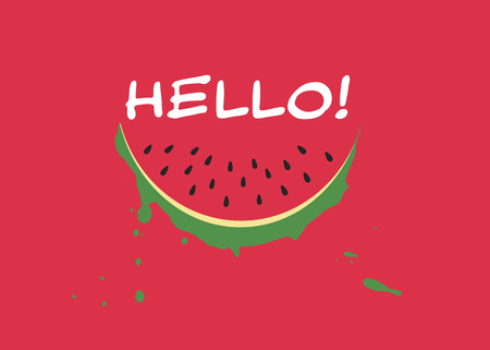 Watermelon slice and inscription HELLO in trendy flat style on red background. Summer symbol for your web site design, logo, app. Vector illustration