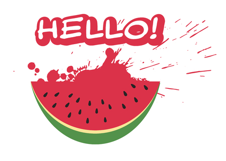 Watermelon slice and inscription HELLO in trendy flat style isolated on white background. Summer symbol for your web site design, logo, app. Vector illustration Ilustração