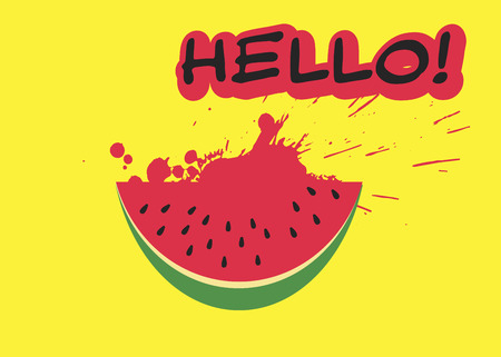 Watermelon slice and inscription HELLO in trendy flat style on yellow background. Summer symbol for your web site design, logo, app. Vector illustration