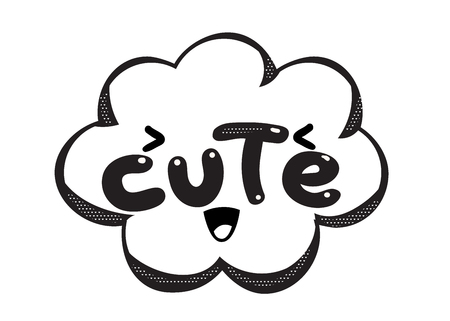 Monochrome vector Cute speech bubble. Black and white emotional icon isolated. Comic and cartoon style